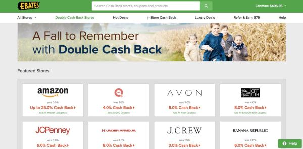 Ebates Double Cash Back Stores