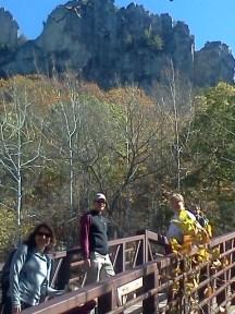 Crossing the bridge to Seneca Rocks.