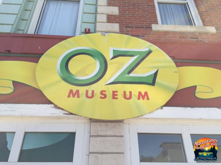 Sign over the entrance of the Wizard of Oz Museum in Kansas