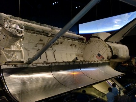 The view inside of the Atlantis Space Shuttle.