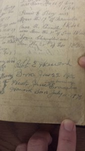 Record of Robert E. Howard's birth in the Howard family Bible.
