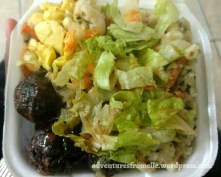 Ackee, BBQ veggie balls & pasta salad topped with a tossed salad for $380.00