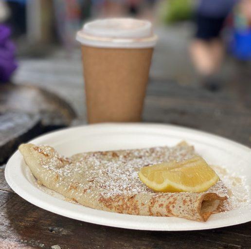 Lemon and sugar crepe at Eumundi Market
