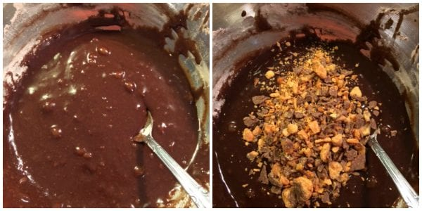 Mixing the brownies