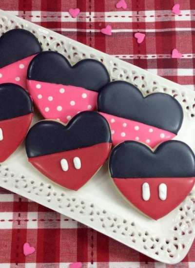 Heart Shaped Mickey & Minnie Mouse Inspired Cookies