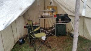 inside the kitchen tent