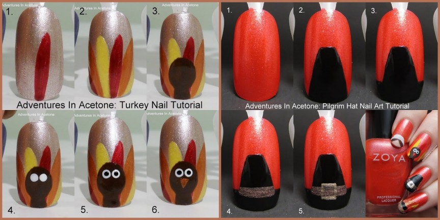 Tutorial Tuesday Flashback To Thanksgiving Nail Art Tutorials Adventures In Acetone