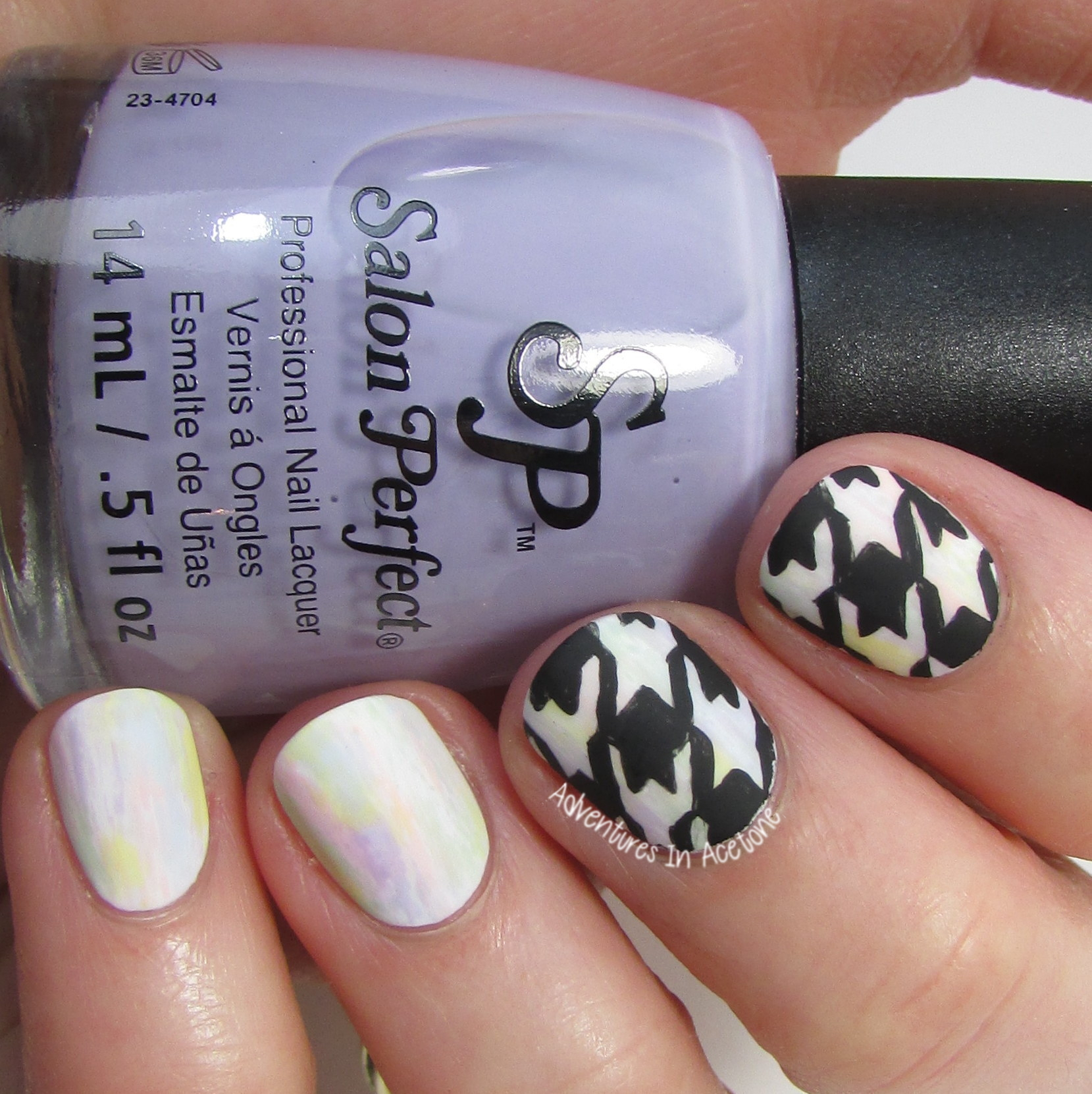 Freehand Houndstooth Pastel Nail Art 2 3 001