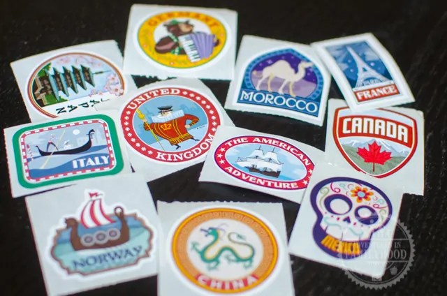 Epcot Kidcot Fun Stop World Showcase Country Stickers