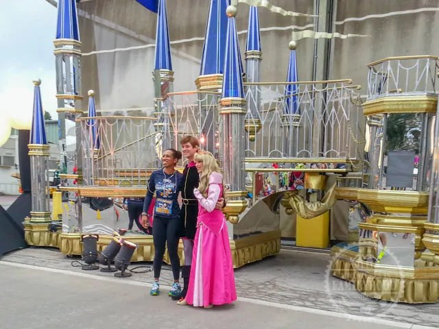 Aurora and Prince Philip Photo Op backstage Magic Kingdom during 2014 Walt Disney World Half Marathon