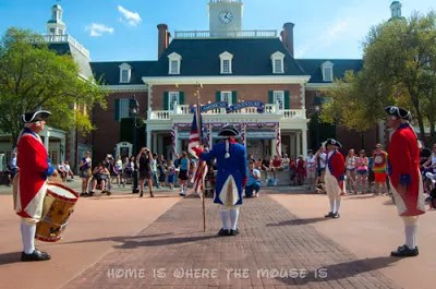 The Spirit of America Fife and Drum Corps performs at the American Adventure, Epcot