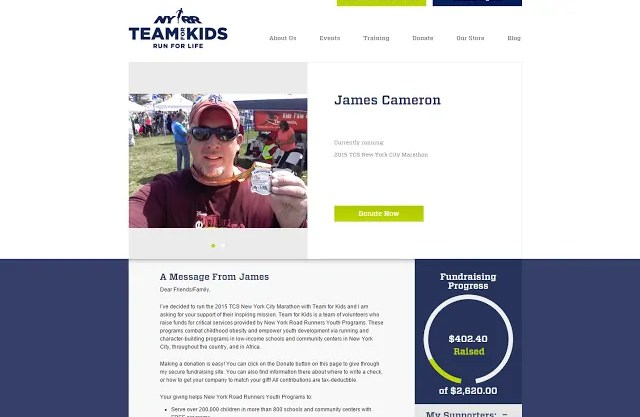 James' Team For Kids Fundraising Page