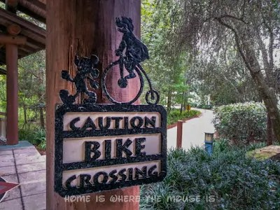 Bike Crossing Sign at Disney's Wilderness Lodge