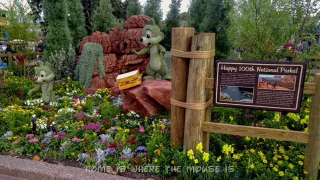 Ranger Mickey and Friends Topiary celebrates the 100th year of our National Parks