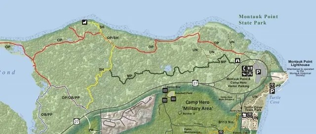 Map of Montauk Point State Park Hiking Trails