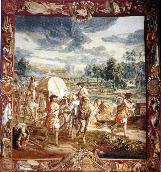 Carts, drivers and stragglers, in the rear of the army in 1708. Blenheim tapestry.
