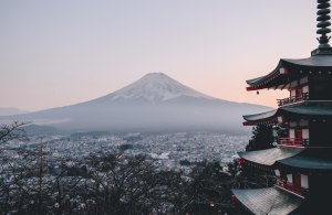 mount fuji view zen japanese temple