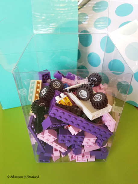 Clear gift box with LEGOs inside - Legos for cheap - Adventures in NanaLand