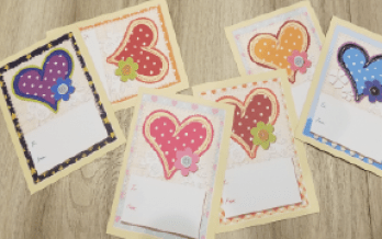 Six Valentines Day cards with large colorful hearts - Adventures in NanaLand - Valentine's Day Ideas for Kids