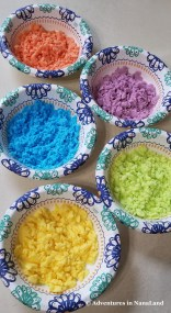Bowls of colored baking soda - Magic Rainbow Rocks - Adventures in NanaLand