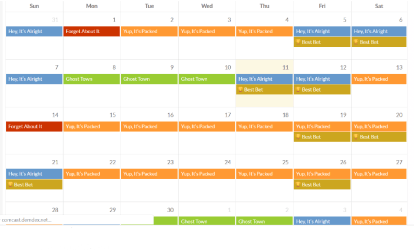 Sample Disneyland crowd calendar from Is it Packed.com - Planning a Trip to Disneyland - Adventures in NanaLand