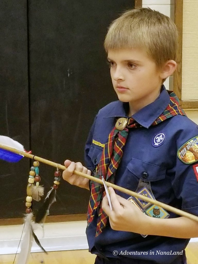 Young boy with Arrow of Light Cub Scout Award - Fun Games to Play Over Skype - Adventures in NanaLand