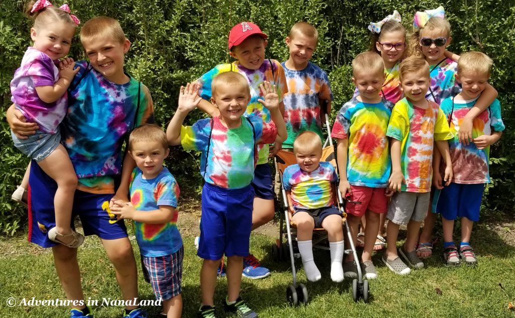 Group of kids in tie dye shirts - Grandma Camp Memories - Adventures in NanaLand