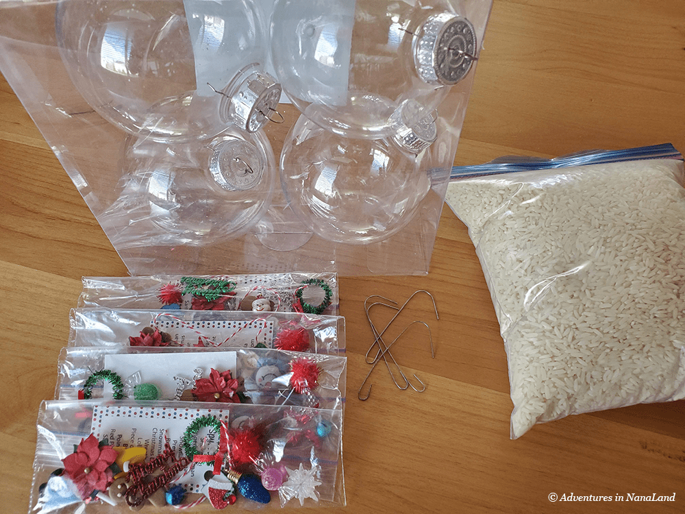 "Craft supplies for making ""I Spy"" Christmas ornaments - Grandma Camp Weekend - Adventures in NanaLand"