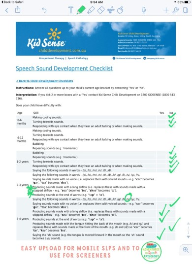 Kid Sense Checklists