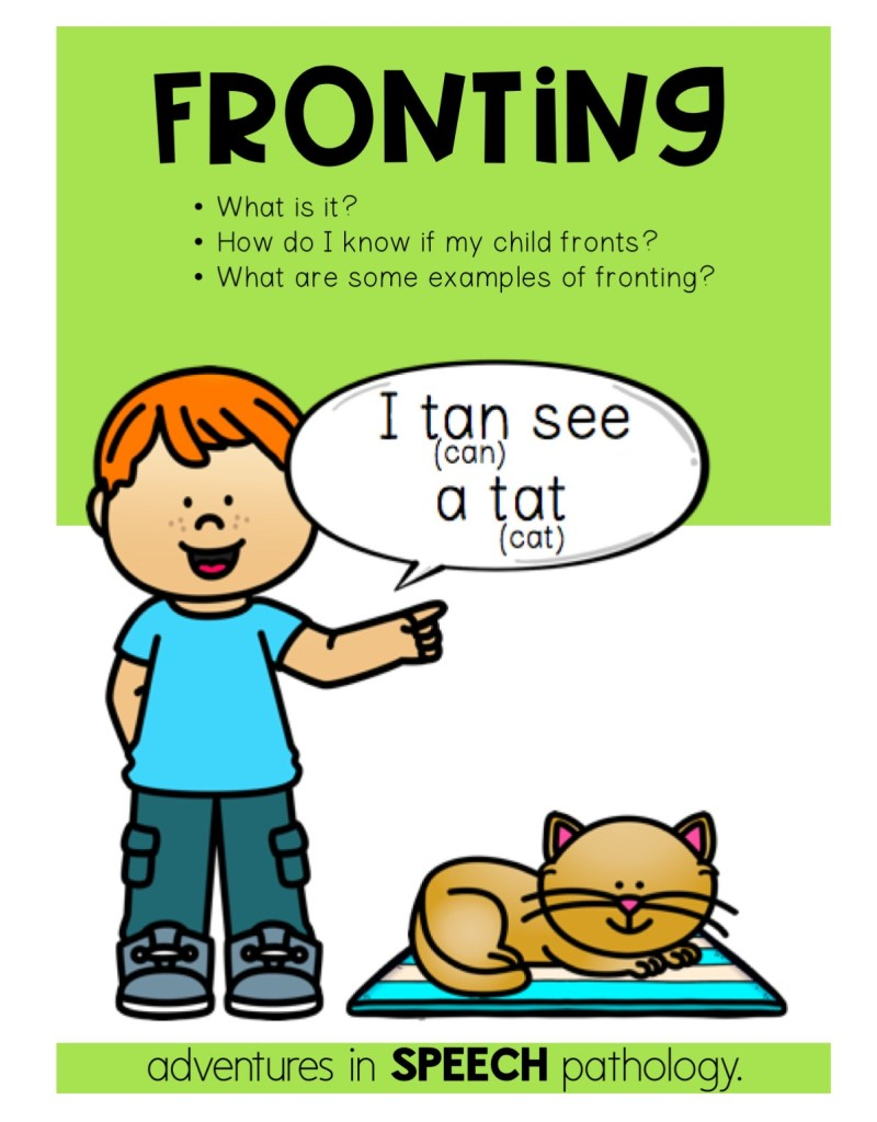 What is fronting in speech therapy?