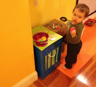 Homemade kitchen & sink from cardboard boxes for baby Big Brother was little
