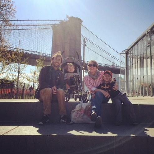 Family portrait under the bridge