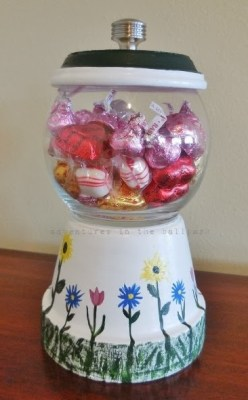 Repurposed flower pot candy dish