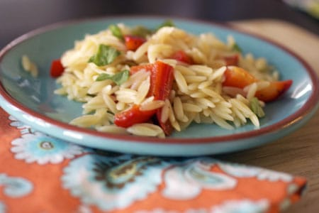 Lemon Orzo with Red Peppers and Scallions