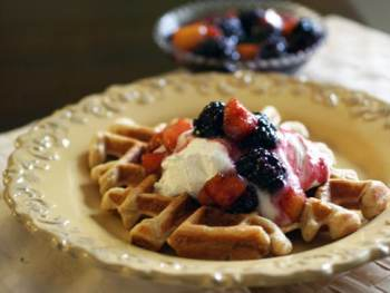 Birthday, Affirmations and Cinnamon Sugar Waffles with Warm Peach Compote