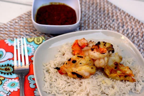 grilled shrimp with fiery lemongrass sambal