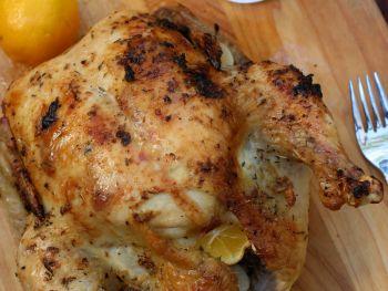 Meyer Lemon and Garlic Roast Chicken