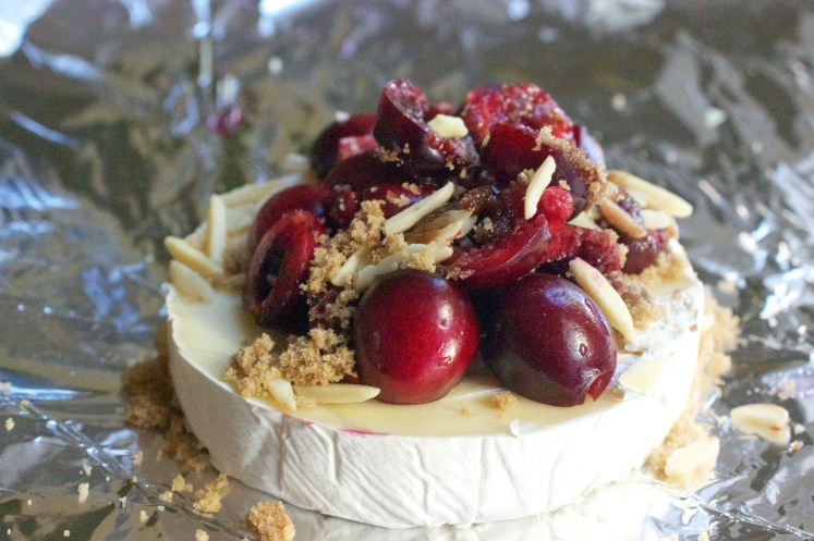 grilled cherry almond brie in foil