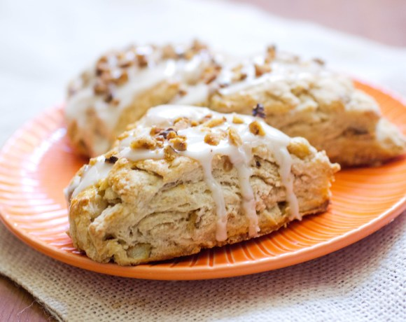 Cinnamon Apple Yogurt Scones with Apple Cider Glaze