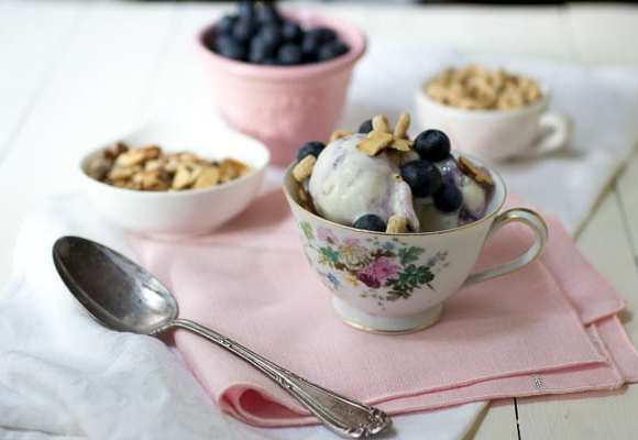 Blueberries and Yoplait® Frozen Yogurt Breakfast Bowls