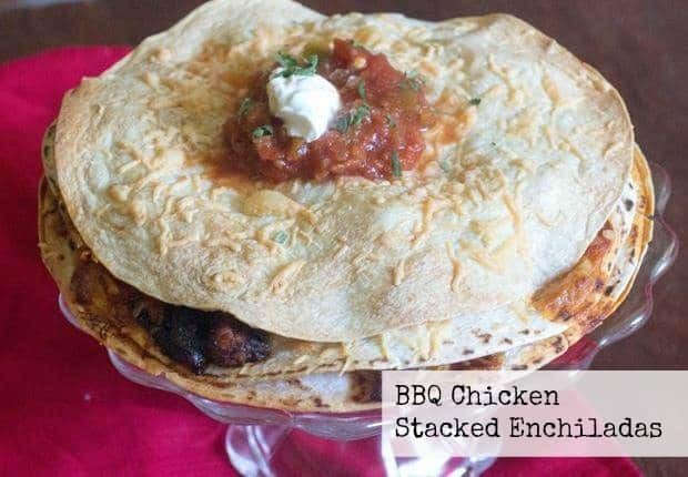BBQ Chicken Stacked Enchiladas