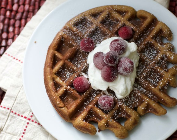 Gingerbread Waffles with Sugared Cranberries