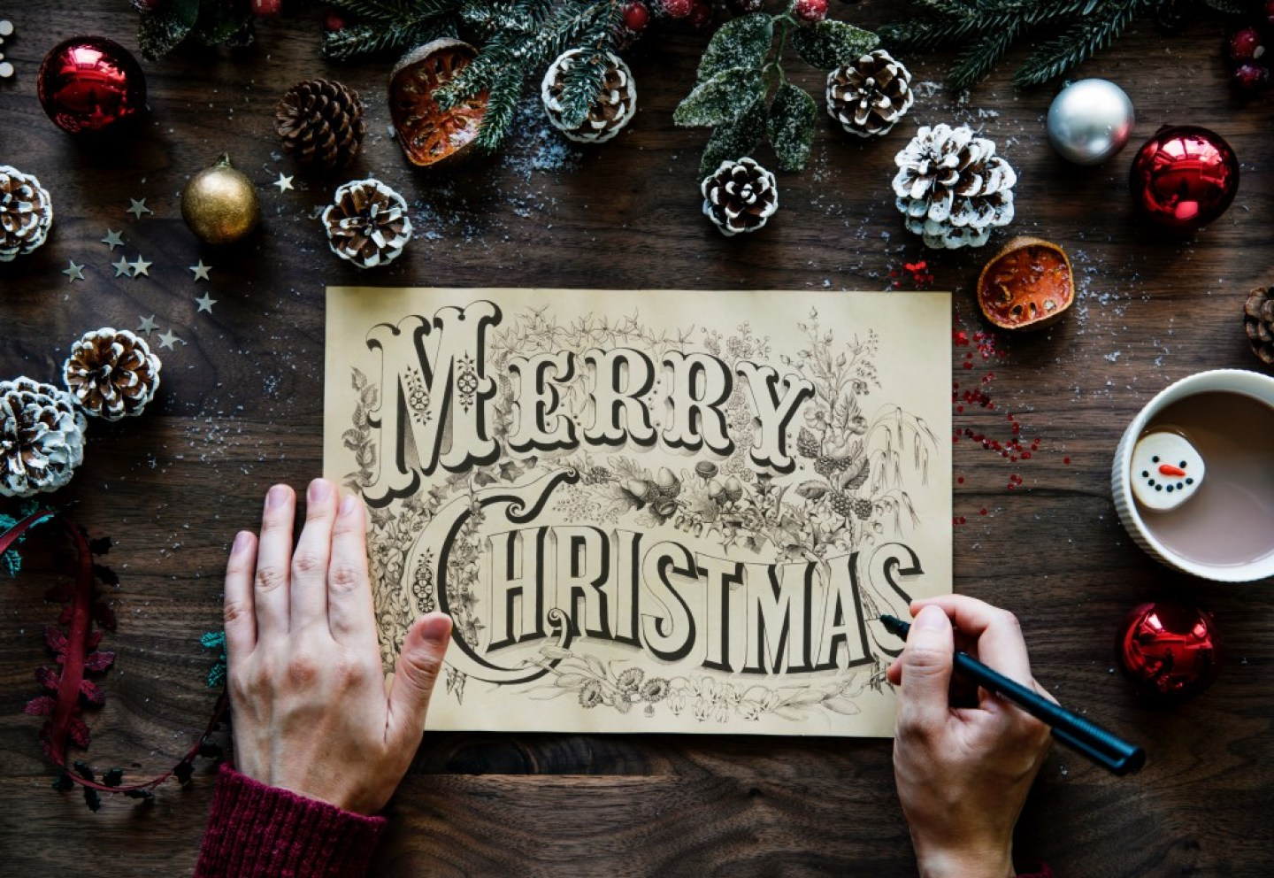 Christmas sign written in calligraphy
