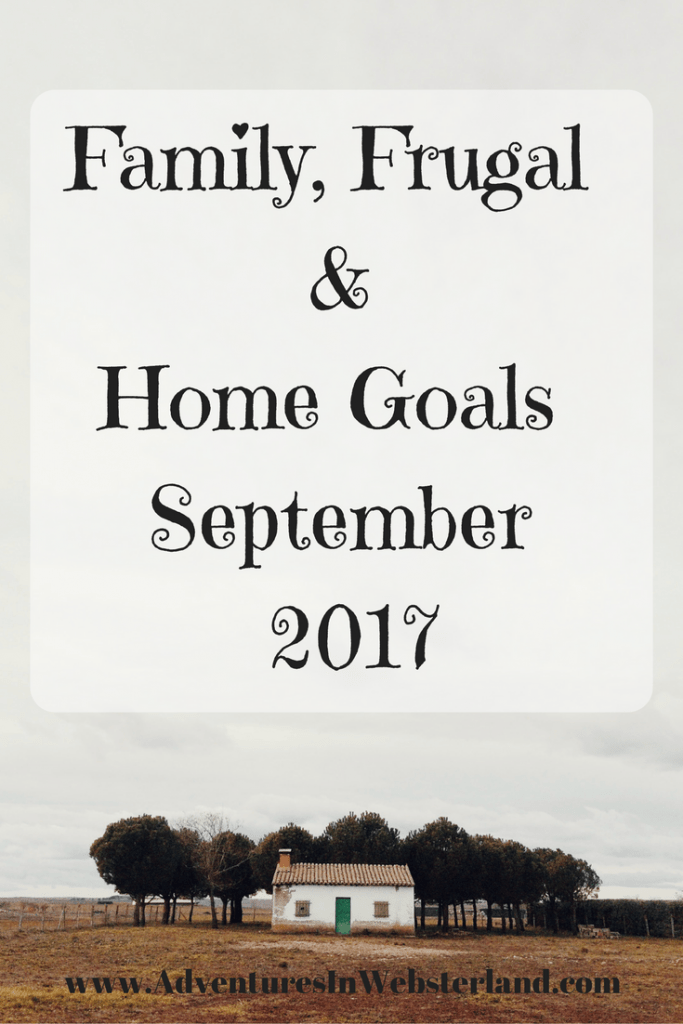 Family, Frugal & Home Goals For September 2017