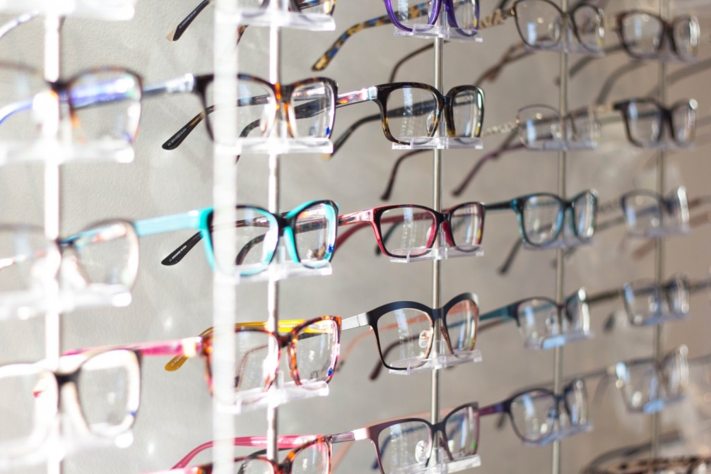a row of kids glasses spectacles