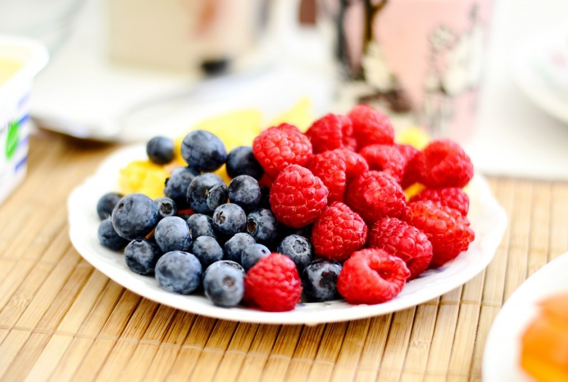 plate with summer berries fruit