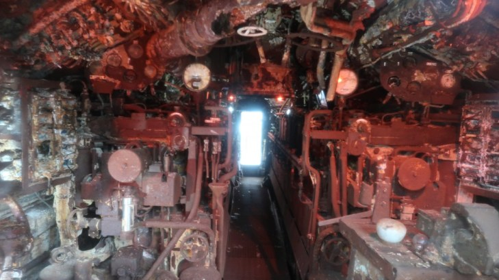 internal view of recovered german ubout at the uboat story liverpool