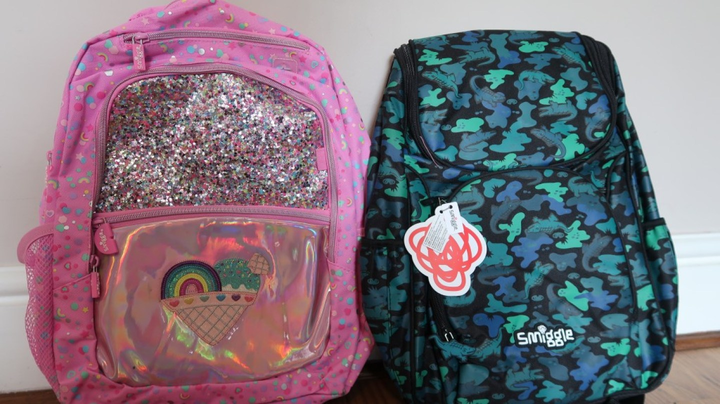 sparkly pink and blue camo backpacks from smiggle