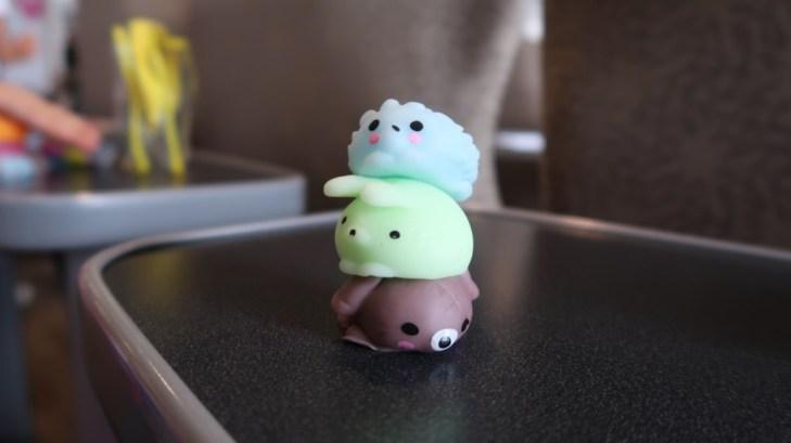 close up of three stacked moj moj on a table