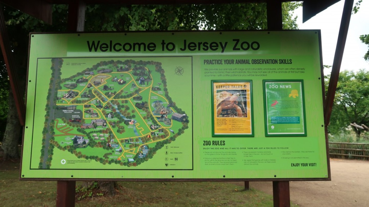 jersey zoo welcome sign and map